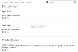Microsoft Store App mit Offlineberechtigungen in den Einstellungen