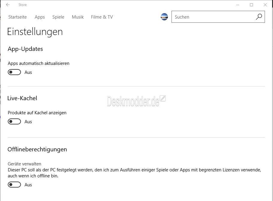 Microsoft Store App mit Offlineberechtigungen in den