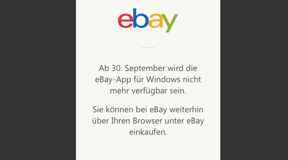 windows ebay app wird eingestellt. Black Bedroom Furniture Sets. Home Design Ideas