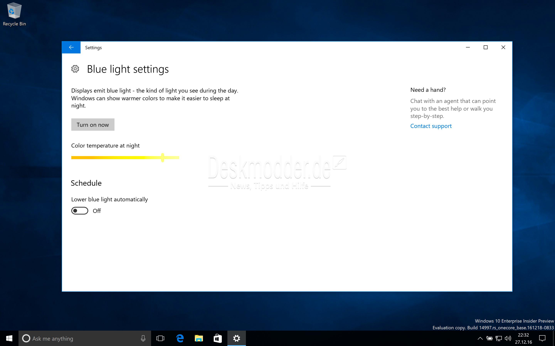 Blaulichtfilter Windows 10