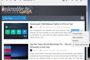 Microsoft Edge: Google-Suche im Kontextmenü integrieren