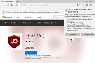 uBlock Origin endlich im Microsoft Store für den Edge als Erweiterung