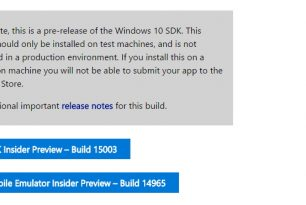 Windows 10 SDK Preview 15003 steht zum Download bereit