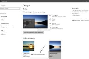 Windows 10 Einstellungen Designs wird in der Creators Update aufgewertet