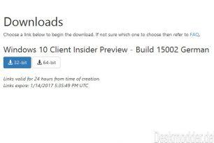 Offizielle Windows 10 15002 ISOs liegen auf den Microsoft-Servern