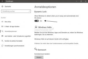 Windows Hello, Dynamic Lock und Windows Goodbye in der Creators Update