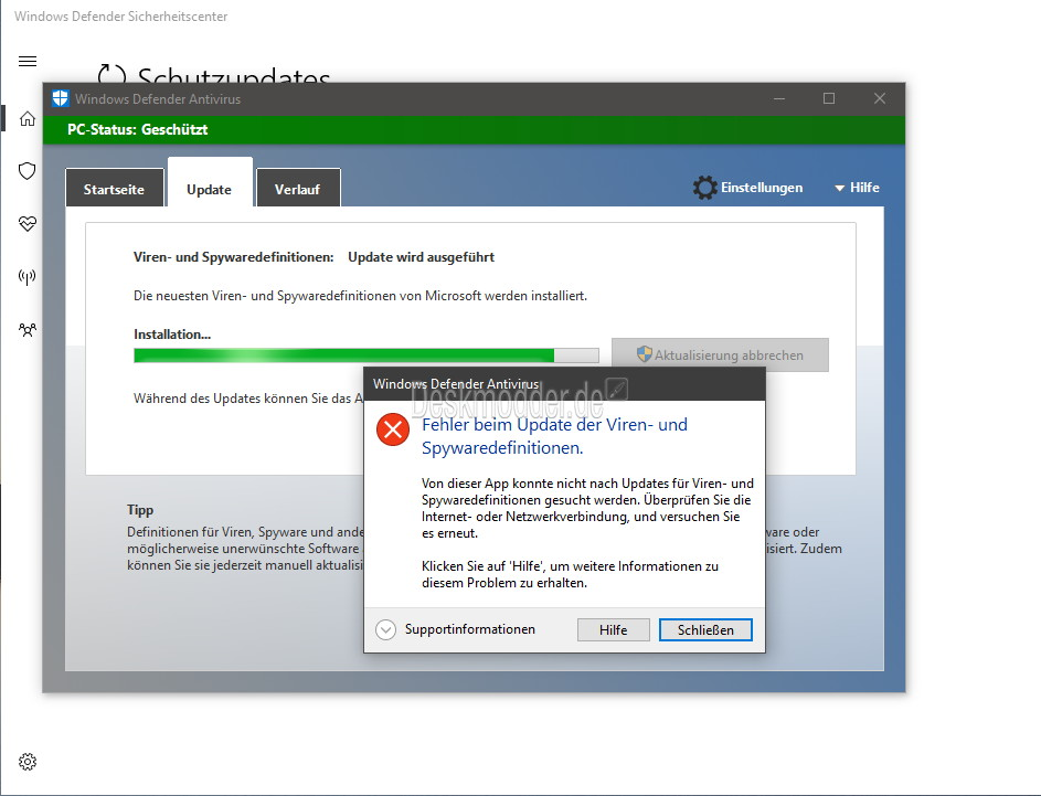 Windows defender aktuell mit einem update problem for Window defender update