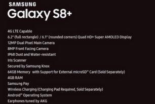 Samsung Galaxy S8+ Die Ausstattung (Specs) geleakt