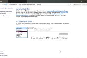 Schriftgröße für die einzelnen Elemente ändern in der Windows 10 1703