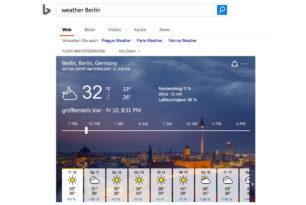 Bing-Websuche visualisiert nun das Wetter