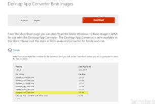 Desktop App Converter BaseImage-15063.wim steht zum Download bereit