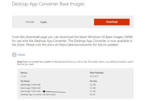 Desktop App Converter Base Images 15055.wim steht zum Download bereit