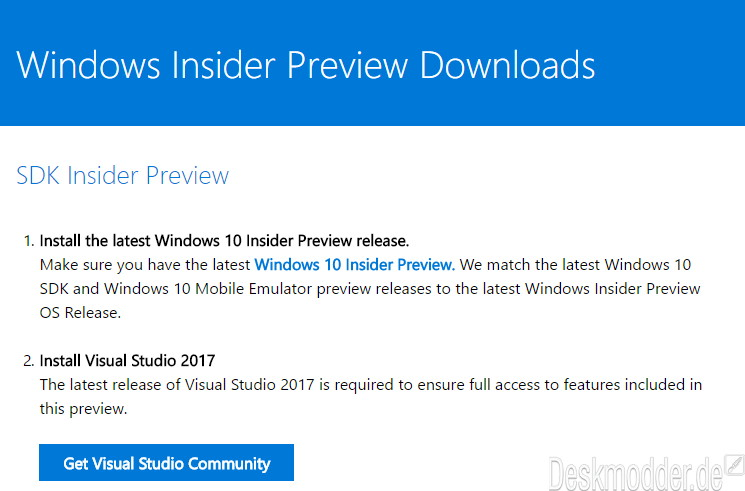 Windows 10 15063 ISOs der SDK, ADK, HLK, WDK, FOD stehen zum