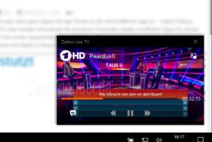 Zattoo: Update für Windows 10 bringt Bild-in-Bild-Funktion