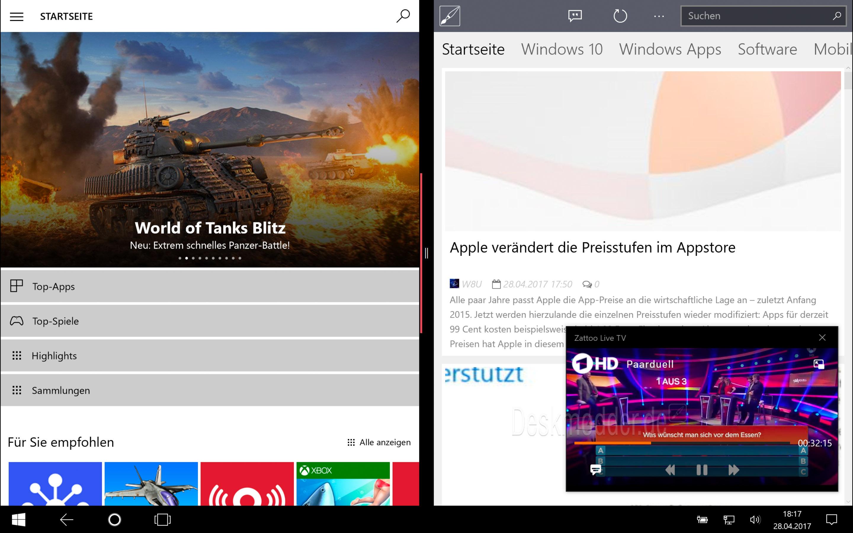 Zattoo update f r windows 10 bringt bild in bild funktion for Fenster immer im vordergrund