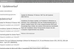 KB3150513 April 2017 – Neues Kompatibilitätsupdate für Windows 10 1607