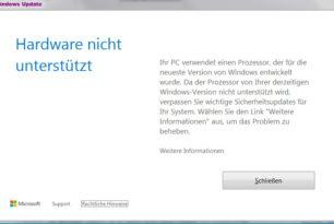 Windows 7 Update blockiert wegen falschen Hardware-Infos (CPU, GPU)