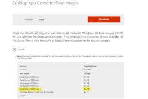 Desktop App Converter BaseImage-16184.wim steht zum Download bereit