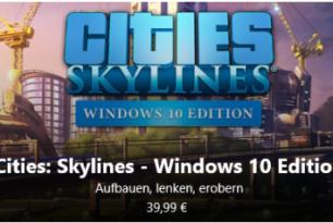Cities: Skylines – Debüt der Xbox-Version im Windows 10 Store