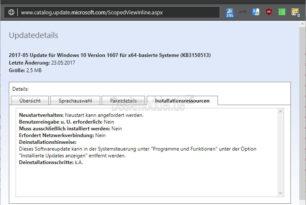 KB3150513 (23.Mai 2017) Windows 10 1607 Kompatibilitätsupdate wurde nochmal aktualisiert