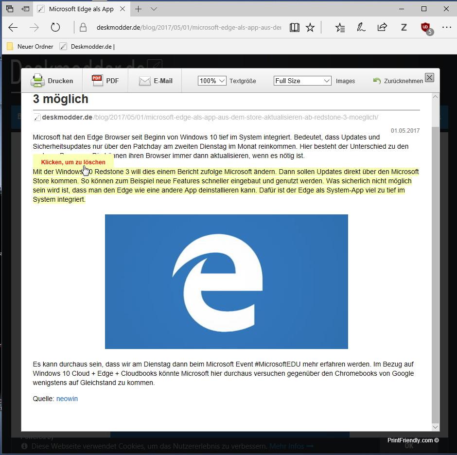 PrintFriendly and PDF als Microsoft Edge Erweiterung | Deskmodder de