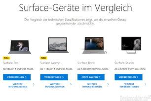 Surface Geräte im Vergleich – Microsoft erleichtert die richtige Wahl