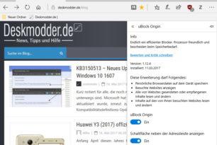 uBlock Origin als Microsoft Edge Erweiterung mit einem Update