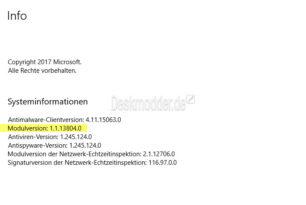 Windows Defender erneut aktualisiert auf die 1.1.13804.0 im Antimalware Modul