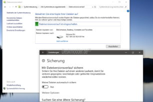 Dateiversionsverlauf in der Windows 10 Build 16226 wieder vorhanden