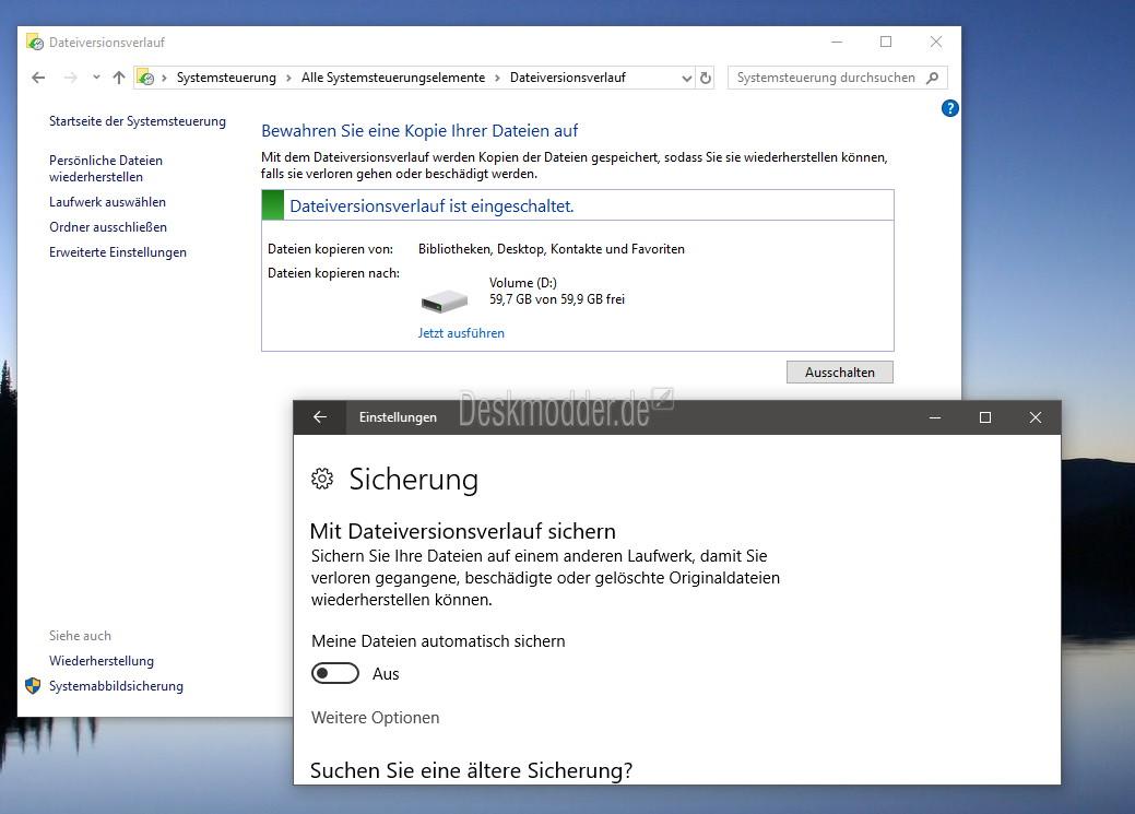 Dateiversionsverlauf in der Windows 10 Build 16226 wieder vorhanden ...
