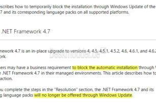 KB3186568 .NET Framework 4.7 kann über Windows Update blockiert werden