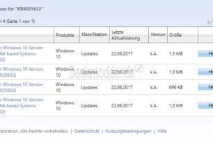 KB4025632 Windows 10 1703 und 1607 im Update Katalog aufgetaucht