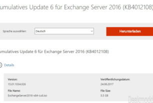 Exchange Server 2016 Kumulatives Update 6 (KB4012108) steht zum Download bereit