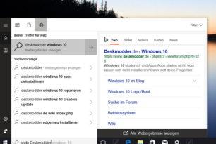 Cortana: Erweiterte Websuche ist nun integriert in  Windows 10