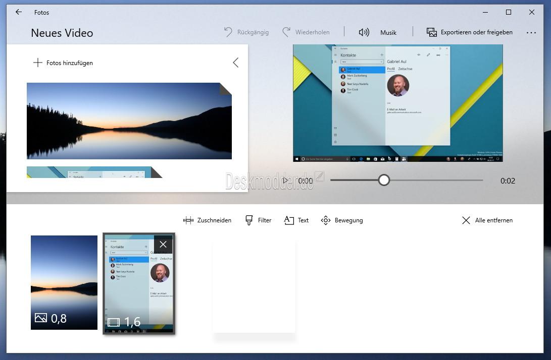 Windows 10 Foto App Video Aus Bildern Und Videos Erstellen Ist Nun Moglich Deskmodder De