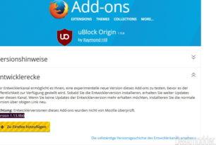 Firefox: uBlock Origin als WebExtension Version 1.13.9b0