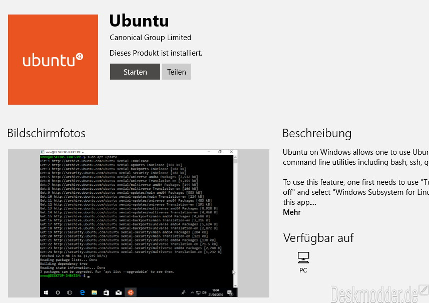 Linux auf Windows 10: Ubuntu im Windows Store gelandet