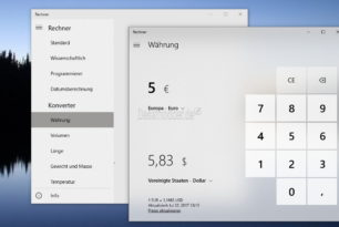 Währungsrechner nun in der Rechner App Windows 10