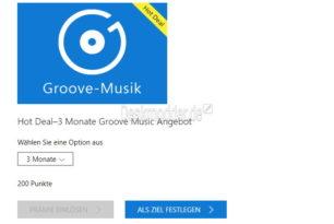 Groove Music Pass für 3 Monate für 200 Punkte wieder aktuell