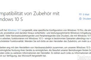 Windows 10 S – Treiber für Zubehör wie Drucker, Kameras etc. auf einer Microsoft Seite