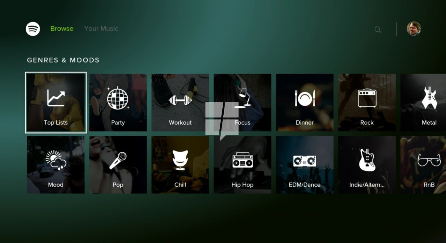 spotify on xbox one erste screenshots der app. Black Bedroom Furniture Sets. Home Design Ideas