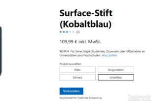 Surface Stift kann man nun auch in anderen Farben vorbestellen