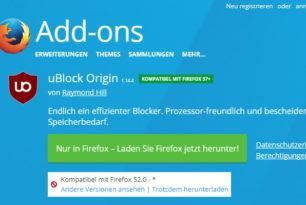uBlock Origin 1.14.4 als WebExtensions für den Firefox