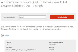 Administrative Templates (.admx) Windows 10 1709 (Fall Creators Update) stehen bereit