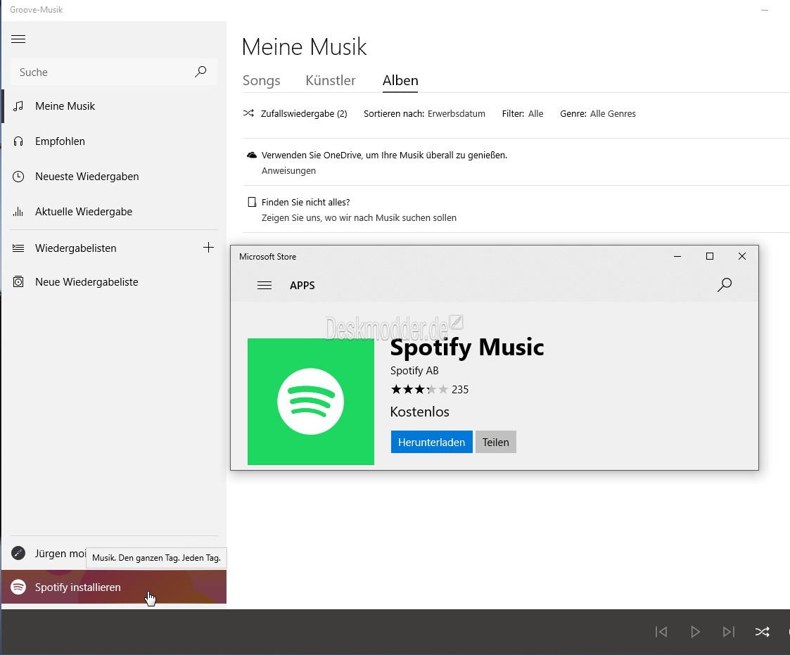 Groove Music App nun mit Spotify Werbung, die zur Spotify