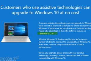 Windows 10 – Kostenloses Upgrade endet am 31.12.2017 für Nutzer von Hilfstechnologien