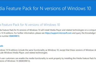 Media Feature Pack für Windows 10 N 1709 Fall Creators Update steht bereit