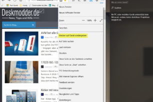 """Microsoft Edge DLNA Funktion wurde entfernt über """"Medien auf Gerät wiedergeben"""""""