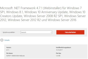 Microsoft .NET Framework 4.7.1 steht bereit als Online und Offline Installer