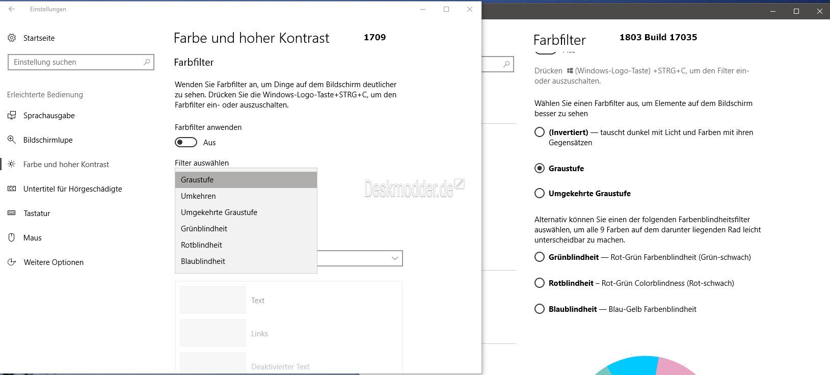 Farbfilter (Graustufen) in der Windows 10 17035 (1803